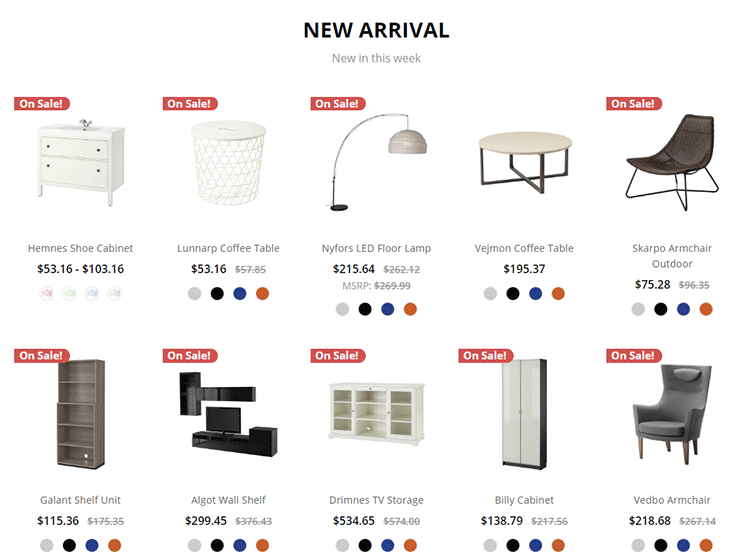 Homepage new products